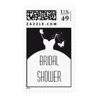 B/W Elegant Wedding Bridal Shower Postage Stamp