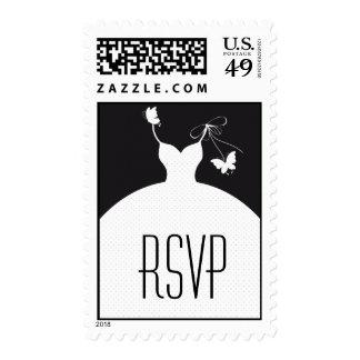 B/W Elegant Wedding RSVP Postage Stamp