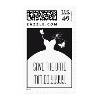 B/W Elegant Wedding Save The Date Postage Stamp