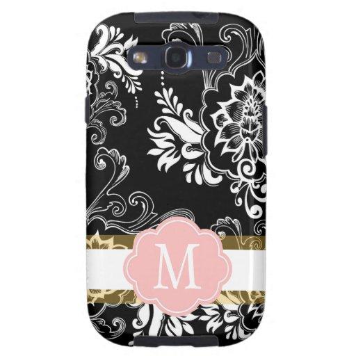 B&W elegante, fresco, clásico, femenino floral Funda Para Galaxy S3