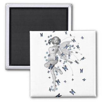 B&W Fairy & Blue Butterflies 2 Inch Square Magnet