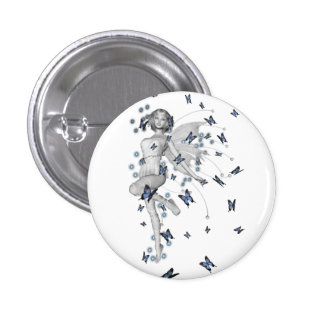 B&W Fairy & Blue Butterflies Pinback Button