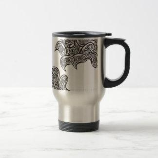 B&W Feather Design Abstract Travel Mug