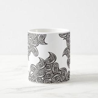B&W Feather Design White 11 oz Classic White Mug