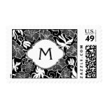 B&W Floral Pattern Background, Tag & Monogram Stamps