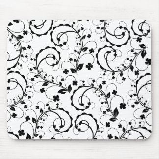 b&w floral pattern mouse pads