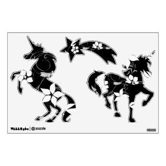 B&W Floral Unicorns Wall Sticker