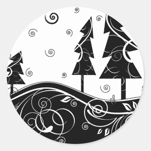 b&w forest classic round sticker