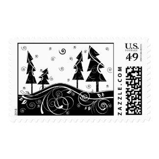 b&w forest postage