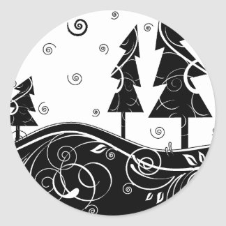 b&w forest round stickers