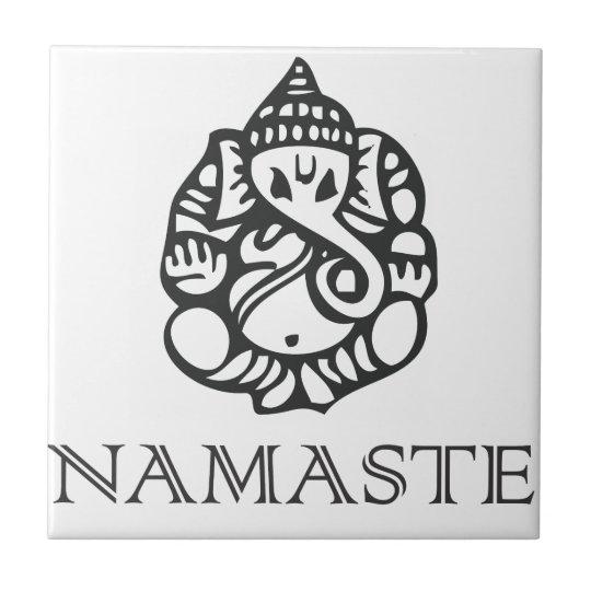 B/W Ganes Namaste Design Ceramic Tile