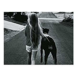 B&W Girl and Dog Postcard