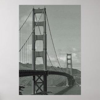 B & W - Golden Gate Bridge Poster