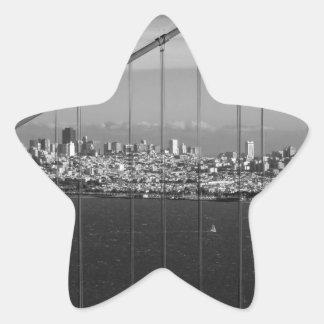 B&W Golden Gate Bridge Star Sticker