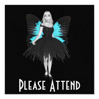 B&W Goth Ballerina & Blue Butterfly Wings Invitation