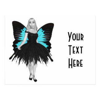 B&W Goth Ballerina & Blue Butterfly Wings Postcard