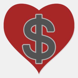 b&w graphic money symbol heart sticker