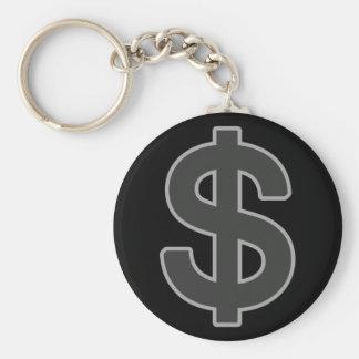 b&w graphic money symbol keychain