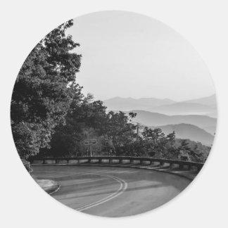 B&W Great Smoky Mountains 2 Classic Round Sticker