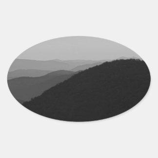 B&W Great Smoky Mountains Oval Sticker