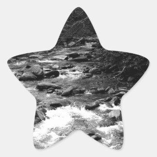 B&W Great Smoky Mountains river Star Sticker