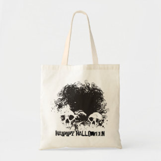 B&W Grunge Skulls Illustration - Happy Halloween Tote Bag