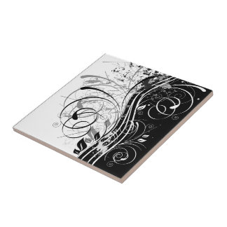 B&W grunge Small Square Tile