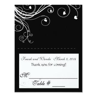 B&W Hearts Flourish placecard Card