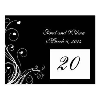 B&W Hearts Flourish Table number card
