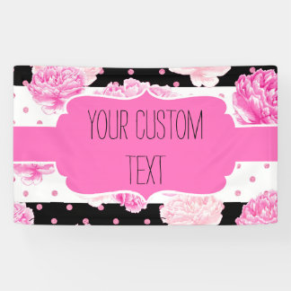 B&W Horizontal Stripes Dots Pink Floral Birthday Banner