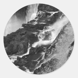 B&W Iguazu Falls Classic Round Sticker