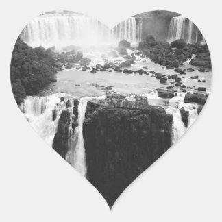 B&W Iguazu Falls Heart Sticker