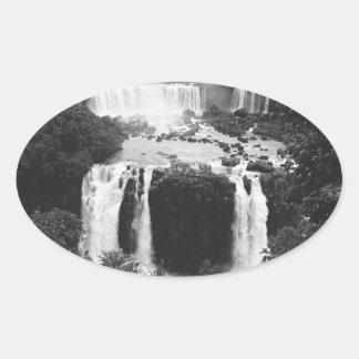 B&W Iguazu Falls Oval Sticker