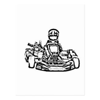 B W Inking of Kart Racer Postcard