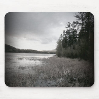 B&W Lake Marsh Landscape Mouse Pad