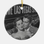 B&W Las Vegas poster Double-Sided Ceramic Round Christmas Ornament