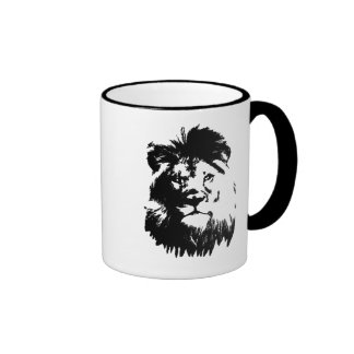 B & W Lion Coffee Mug