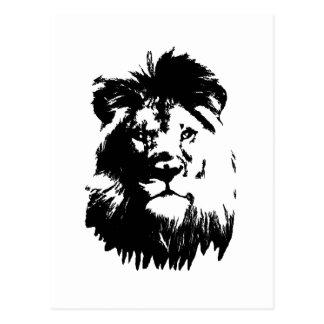 B & W Lion Postcard