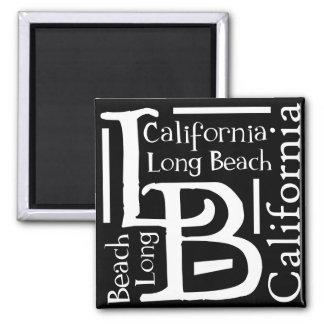 B&W Long Beach Imán Cuadrado