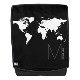 b&w map of world backpack