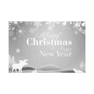 B&W Merry Christmas and Happy New Year Canvas Print