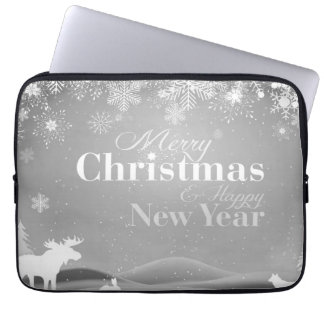 B&W Merry Christmas and Happy New Year Laptop Sleeve