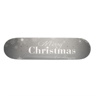 B&W Merry Christmas and Happy New Year Skateboard Deck