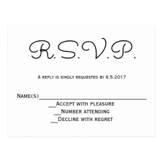 B&w moderno RSVP que casa las postales