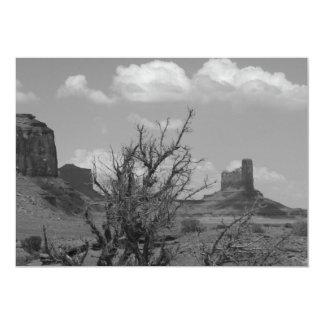 B&W Monument Valley in Arizona/Utah 3 5x7 Paper Invitation Card