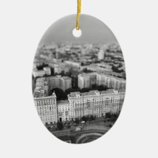 B&W Moscow skyline Ceramic Ornament