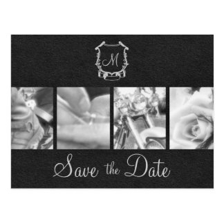 B&W Motorcycle Photos Save the Date Announcement Postcard