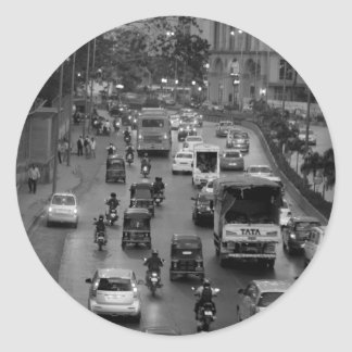 B&W Mumbai street Classic Round Sticker