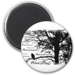 B&W Nevermore Raven Silhouette 2 Inch Round Magnet