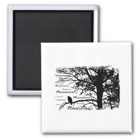 B&W Nevermore Raven Silhouette 2 Inch Square Magnet